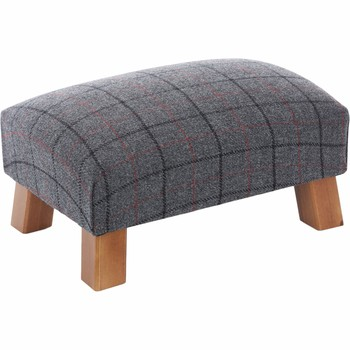 Small Grey & Black Checkered Footstool