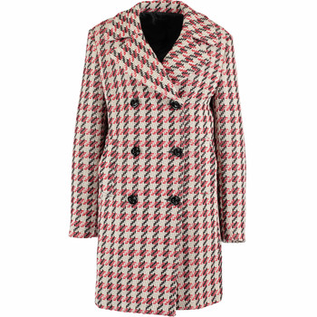 Red Wool Blend Checkered Knitted Pea Coat
