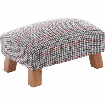 Blue & Red Houndstooth Footstool