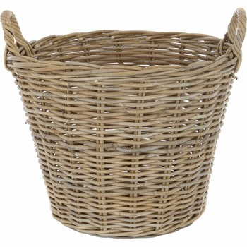 Brown Wicker Round Storage Basket