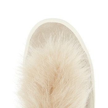 Nude fluffy slip on trainers
