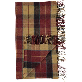 Multicoloured Wool Checkered Blanket Throw