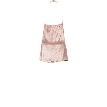 Pink satin choker halter mini dress