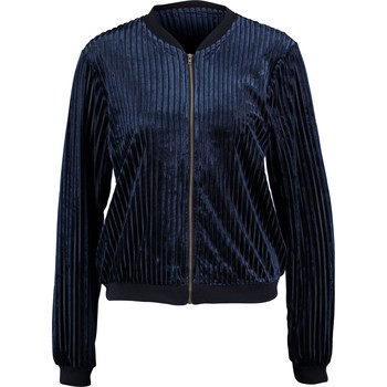 Navy velour ribbed bomber